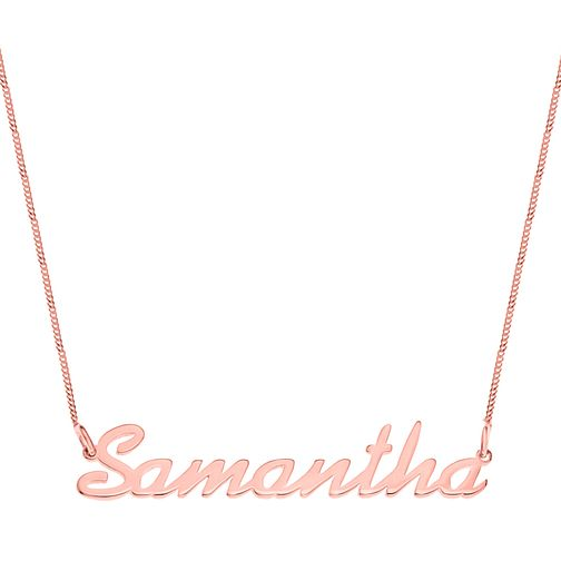 Rose Gold Plated Silver Samantha Italics Nameplate Necklace - Product number 4105281