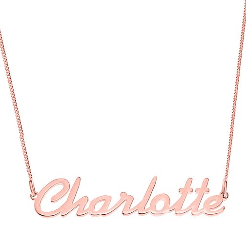 Rose Gold Plated Silver Charlotte Italics Nameplate Necklace - Product number 4105338