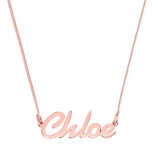Rose Gold Plated Silver Chloe Italics Nameplate Necklace - Product number 4105346