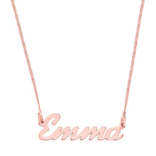 Rose Gold Plated Silver Emma Italics Nameplate Necklace - Product number 4105370