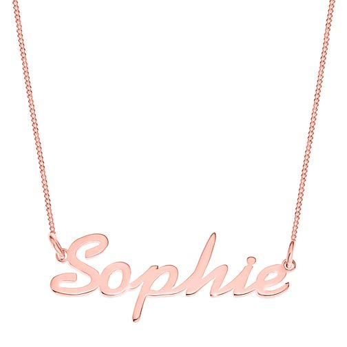 Rose Gold Plated Silver Sophie Italics Nameplate Necklace