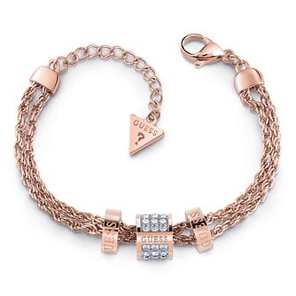Guess Rose Gold Tone Swarovski Crystal Logo Charm Bracelet - Product number 4105435