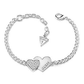 Guess Rhodium Plated Swarovski Crystal Hearts Charm Bracelet - Product number 4105443