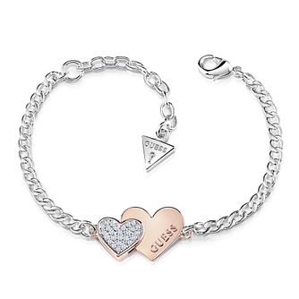 Guess Two Tone Swarovski Crystal Hearts Charm Bracelet - Product number 4105451