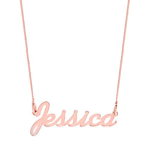 Rose Gold Plated Silver Jessica Italics Nameplate Necklace - Product number 4105478