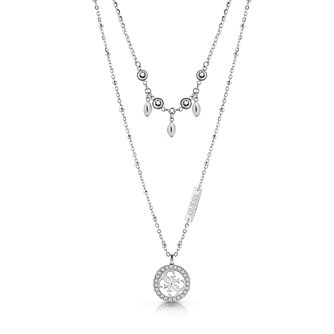Guess Rhodium Plated Swarovski Crystal Double 4-G Necklace - Product number 4105516