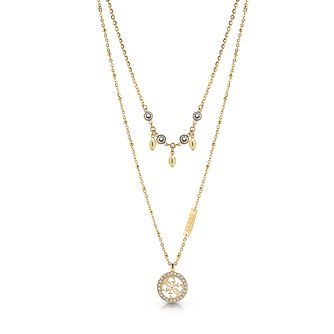 Guess Yellow Gold Tone Swarovski Crystal Double 4-G Necklace - Product number 4105524