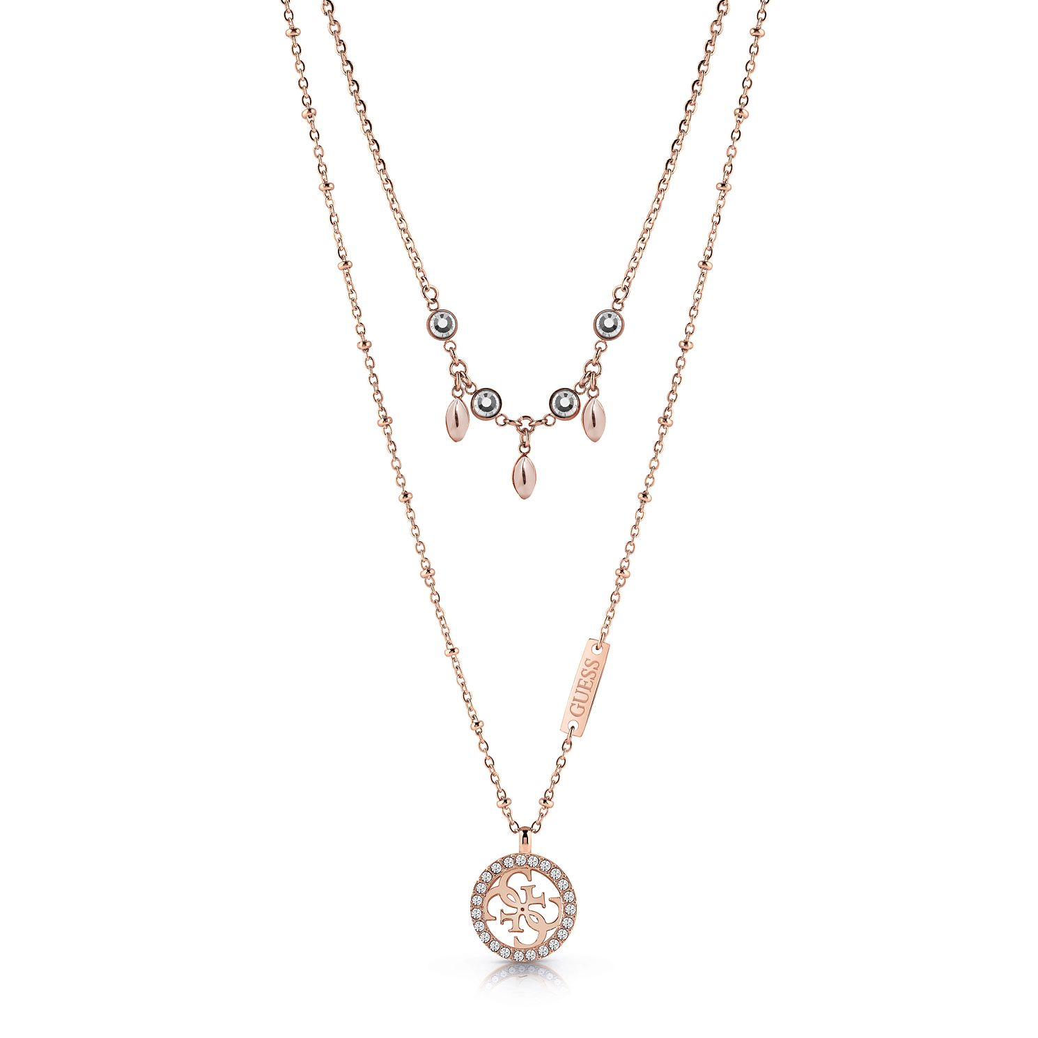 Guess Rose Gold Tone Swarovski Crystal Double 4-G Necklace - Product number 4105540