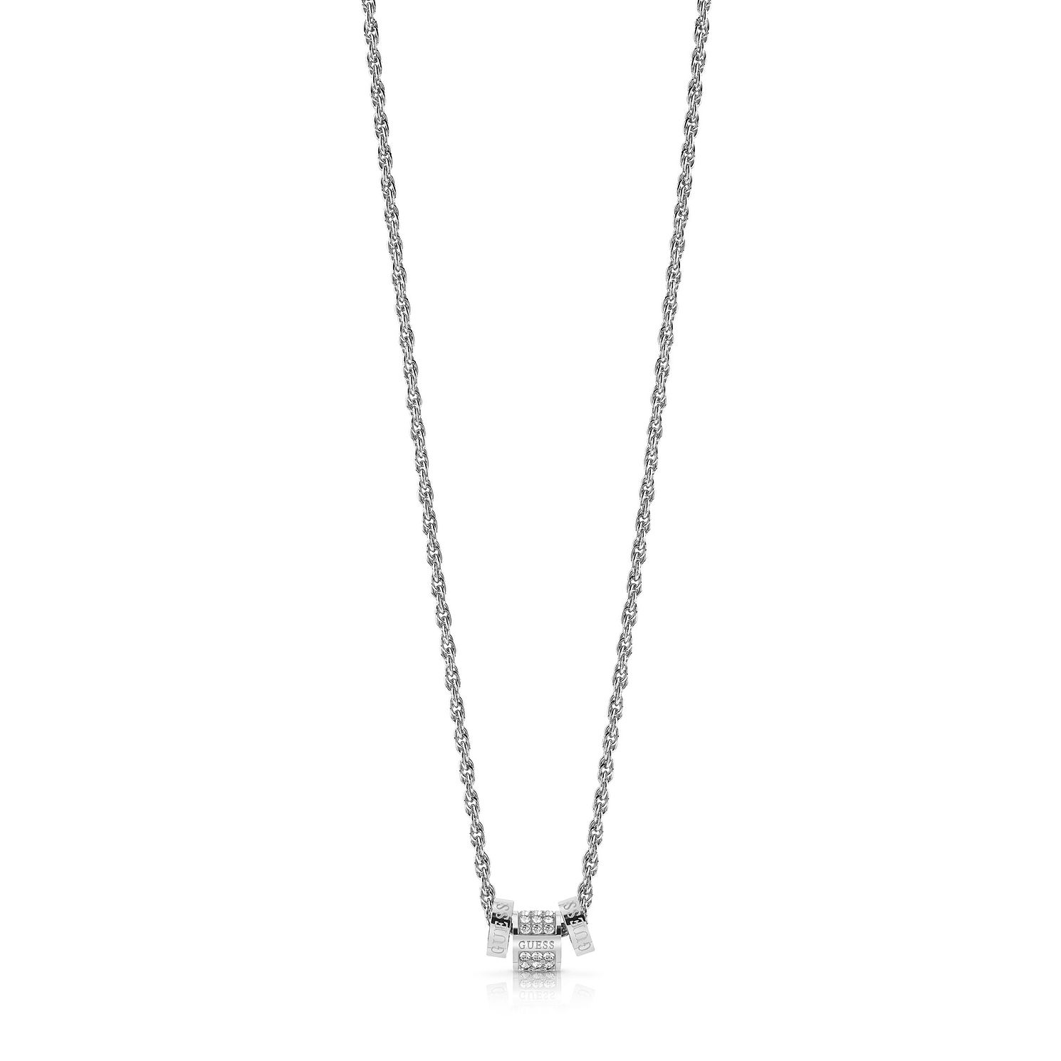 Guess Rhodium Plated Swarovski Crystal Logo Charm Necklace - Product number 4105559