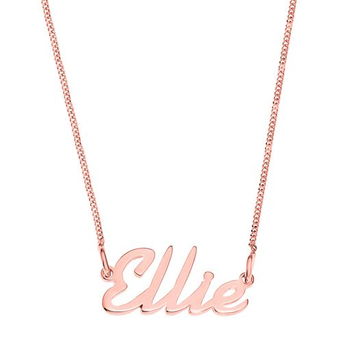 Rose Gold Plated Silver Ellie Italics Nameplate Necklace - Product number 4105621