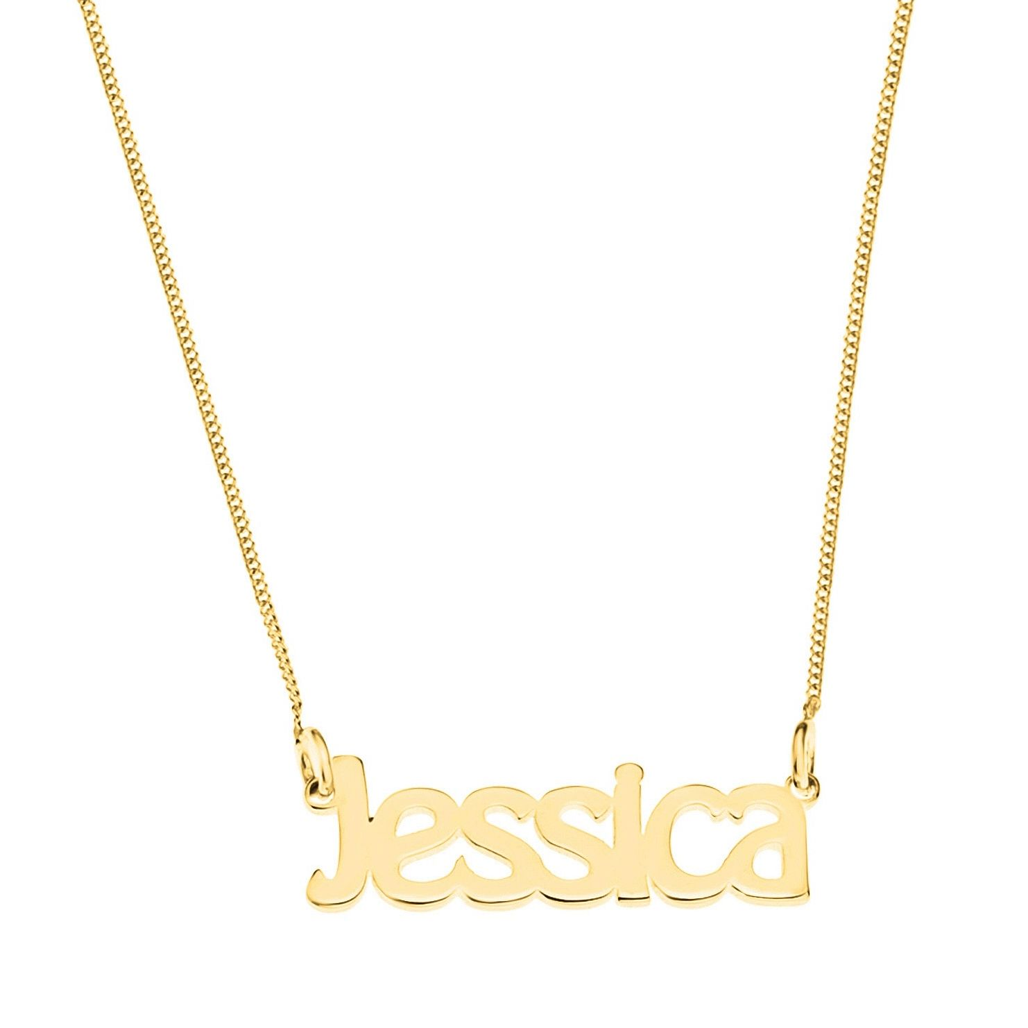 Gold Plated Silver Jessica Nameplate Necklace - Product number 4105834