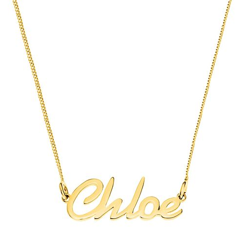 Gold Plated Silver Chloe Italics Nameplate Necklace - Product number 4106008