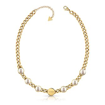 Guess Yellow Gold Tone Faux Pearl Necklace - Product number 4106245