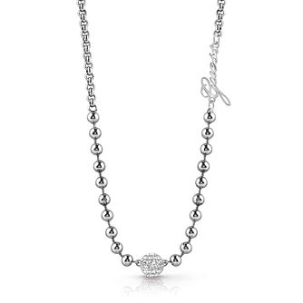 Guess Rhodium Plated Swarovski Crystal Beaded Necklace - Product number 4106296