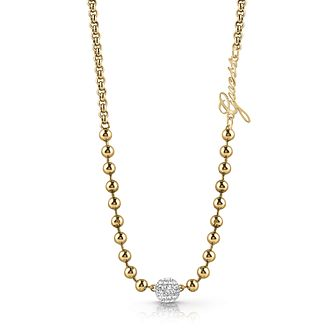 Guess Yellow Gold Tone Swarovski Crystal Beaded Necklace - Product number 4106377