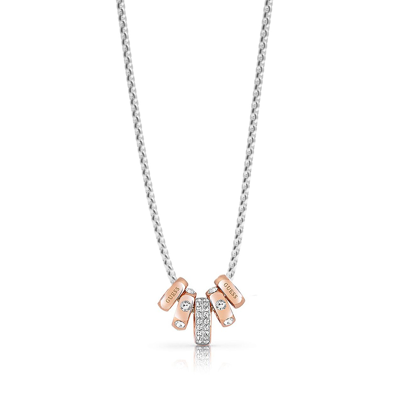Guess Two Tone Swarovski Crystal Ring Charm Necklace - Product number 4106393