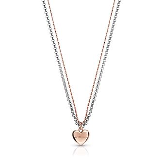 Guess Two Tone Two Chain Heart Necklace - Product number 4106423