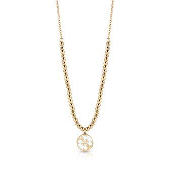 Guess Yellow Gold Tone 4-G Beaded Necklace - Product number 4106458