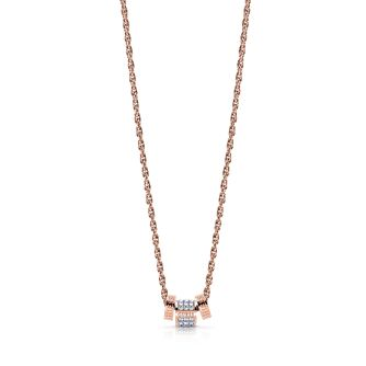 Guess Rose Gold Tone Swarovski Crystal Logo Charm Necklace - Product number 4106466