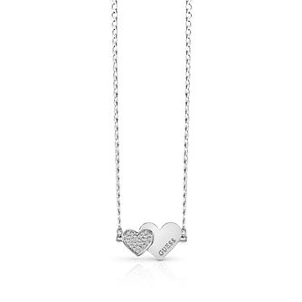Guess Rhodium Plated Swarovski Crystal Hearts Necklace - Product number 4106474