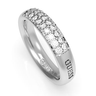 Guess Rhodium Plated Swarovski Crystal Ring - Product number 4106512