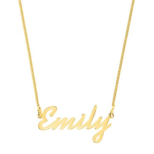 Gold Plated Silver Emily Italics Nameplate Necklace - Product number 4106520