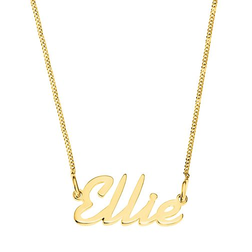 Gold Plated Silver Ellie Italics Nameplate Necklace - Product number 4106628