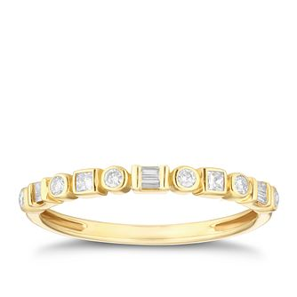 9ct Gold 0.15ct Round, Baguette & Princess Cut Diamond Ring - Product number 4106954