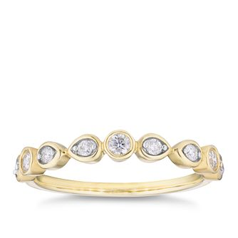 9ct Yellow Gold 1/5ct Diamond Bezel Set Eternity Ring - Product number 4107985