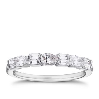 18ct White Gold 1/2ct Pear & Baguette Diamond Eternity Ring - Product number 4108299