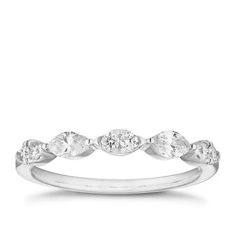 18ct White Gold 1/3ct Round & Pear Diamond Eternity Ring - Product number 4108701