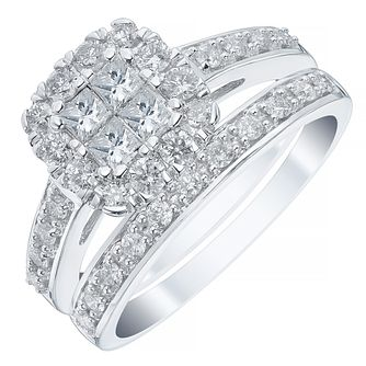 18ct White Gold 1ct Diamond Princess Cut Halo Bridal Set - Product number 4111303