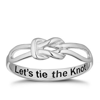 Sterling Silver 'Let's Tie The Knot' Proposal Ring - Size N - Product number 4115589