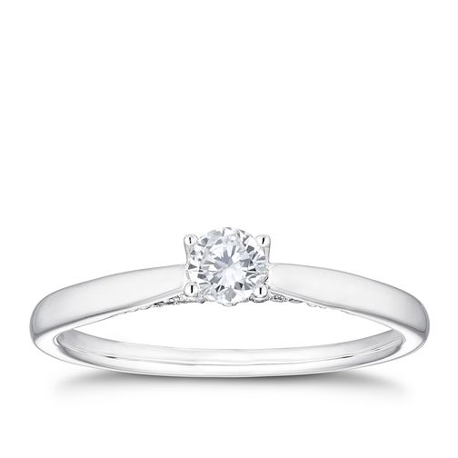 18ct White Gold 1/4ct Diamond Hidden Detail Ring - Product number 4115856