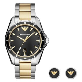 Emporio Armani Men's Two Colour Watch and Cufflink Set - Product number 4115961