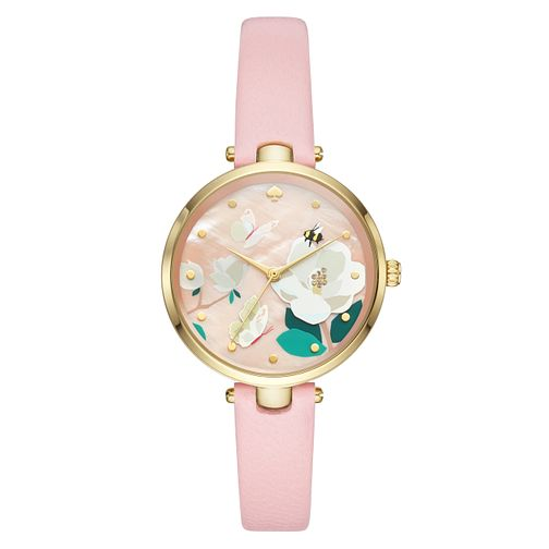 Kate Spade Holland Ladies' Yellow Gold Tone Pink Strap Watch - Product number 4116372