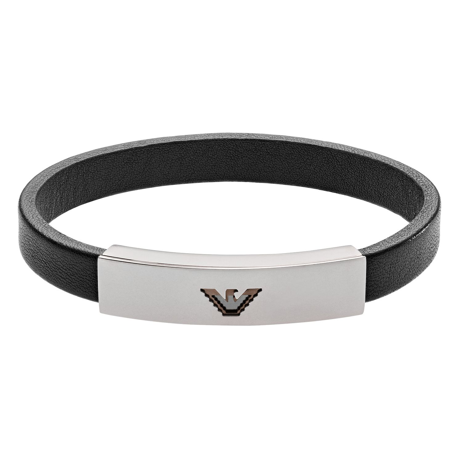 Emporio Armani Men's Black Leather Emblem Bracelet - Product number 4116747