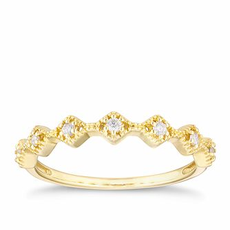 9ct Yellow Gold Diamond Zig Zag Milgrain Eternity Ring - Product number 4117522