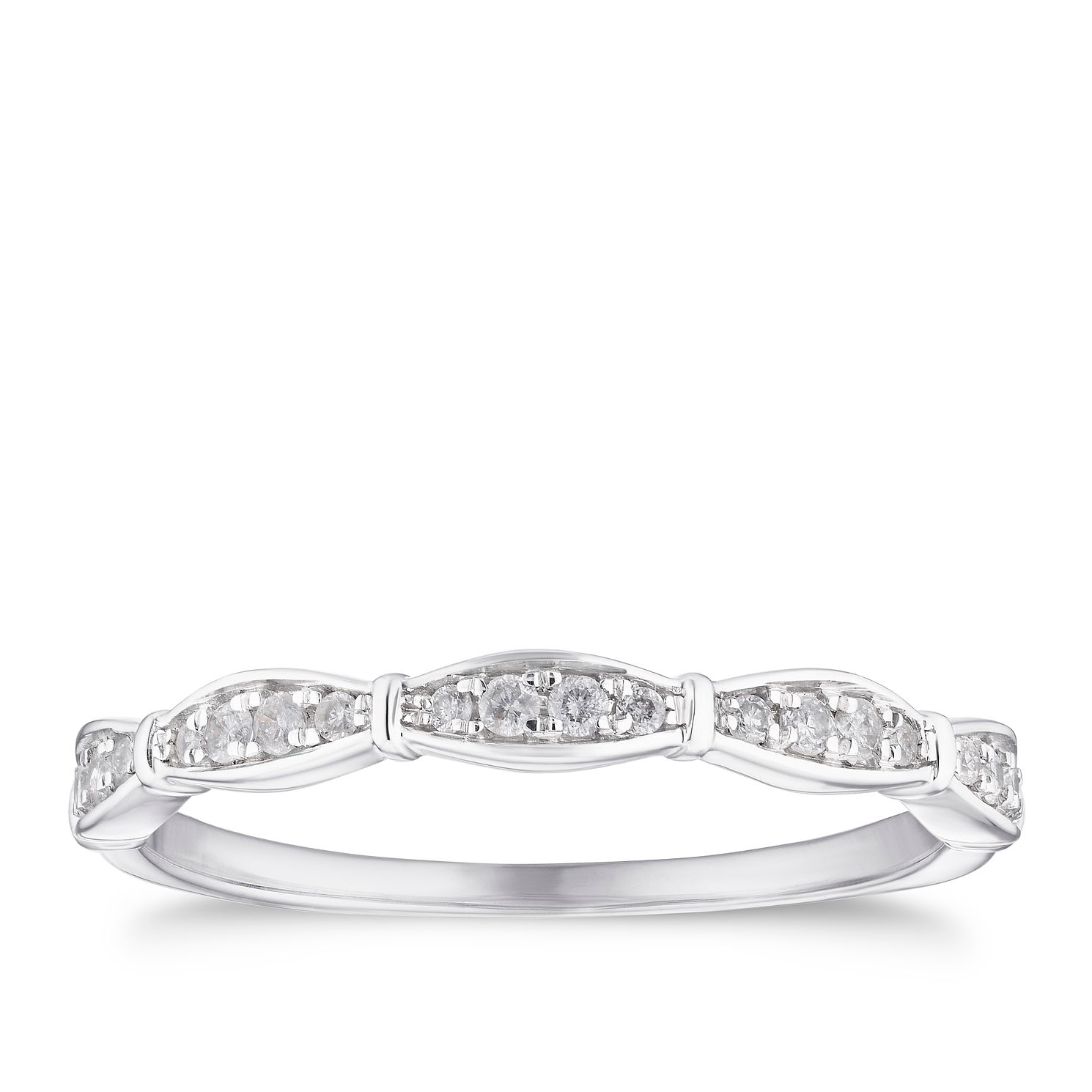 9ct White Gold 0.12ct Diamond Station Eternity Ring - Product number 4117662