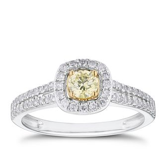 18ct Two Tone Gold 1/2ct Yellow Diamond Square Halo Ring - Product number 4119630