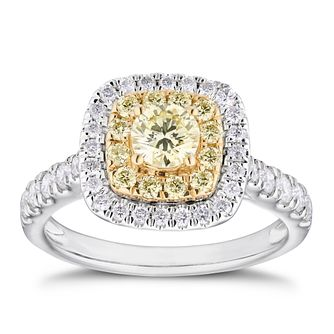 18ct Two Tone 1ct Yellow Diamond Double Cushion Halo Ring - Product number 4119835