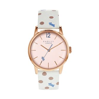 Radley Vintage Dog Dot Ladies' White Leather Strap Watch - Product number 4120280