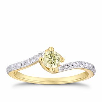 18ct Yellow Gold 0.38ct Yellow Diamond Twist Ring - Product number 4121228