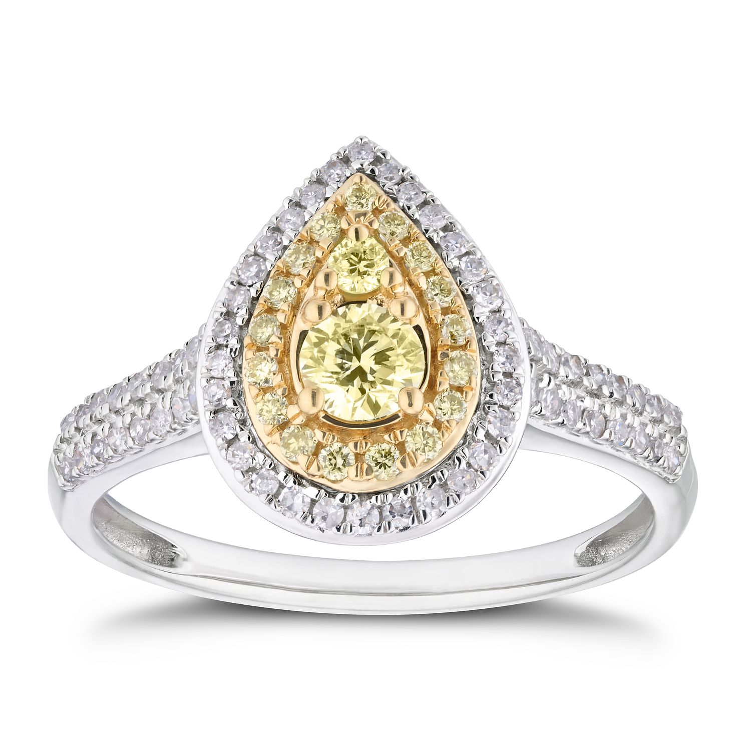 18ct Two Tone 1/2ct Yellow Diamond Double Pear Halo Ring - Product number 4121341