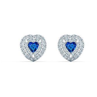 Swarovski Rhodium Plated Crystal One Heart Stud Earrings - Product number 4122615