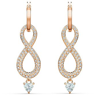 Swarovski Rose Gold Plated Crystal Infinity Drop Earrings - Product number 4122720