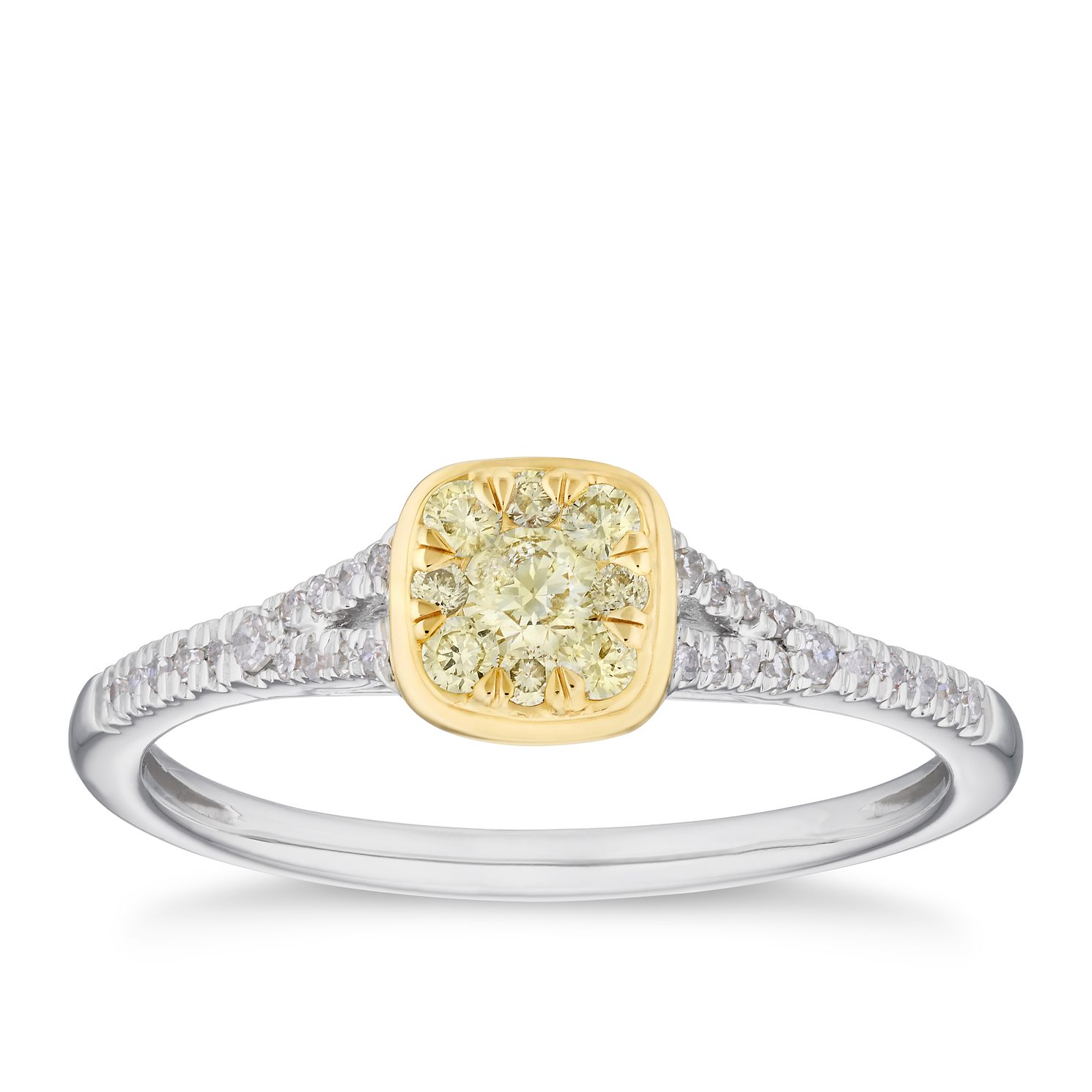 18ct Two Tone Gold 1/4ct Yellow Diamond Square Cluster Ring - Product number 4123212