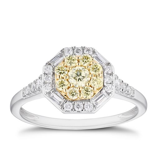 18ct Two Tone Gold 1/2ct Yellow Diamond Hexagon Cluster Ring - Product number 4123808