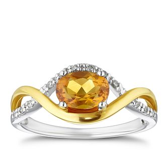 9ct Two Tone Gold Diamond & Citrine Curve Ring - Product number 4125231