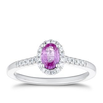 18ct White Gold 0.11ct Diamond & Pink Sapphire Halo Ring - Product number 4125460